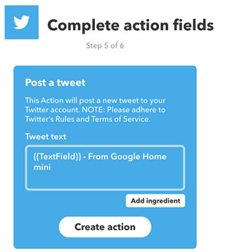 Twitter Action項目設定画面